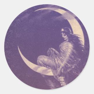 Romantic Crescent Moon Classic Round Sticker