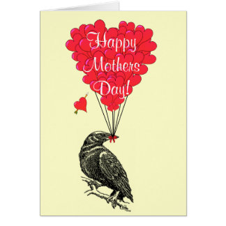 Romantic crow mothers day card