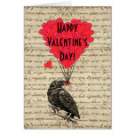 Romantic crow Valentines day Card