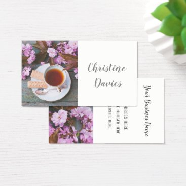 Professional Business Romantic cup of tea, floral business card
