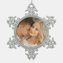 Romantic Custom Wedding Photo Snowflake Pewter Christmas Ornament