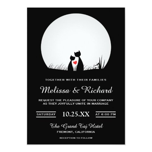 Romantic Cute Cat Couple Wedding Invitation
