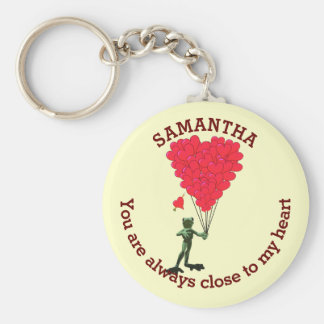 Romantic cute frog and red heart personalized keychain