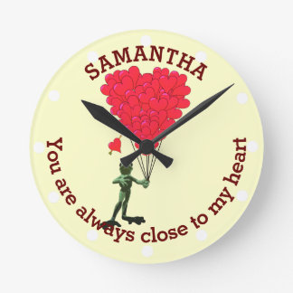 Romantic cute frog and red heart personalized round clock