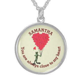 Romantic cute frog and red heart personalized sterling silver necklace