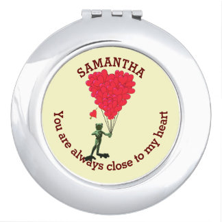 Romantic cute frog and red heart personalized vanity mirror