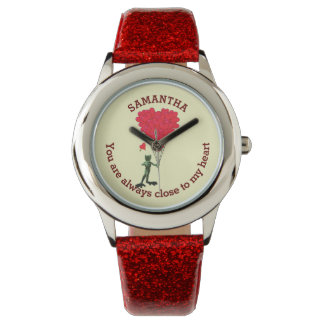 Romantic cute frog and red heart personalized watches