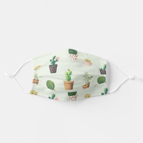 Romantic Cute succulent cactus on mint Cloth Face Mask