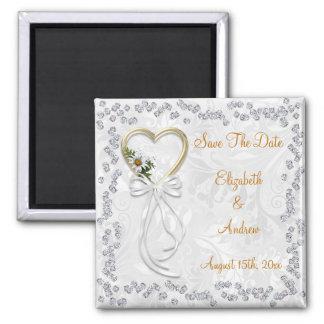 Romantic Daisy, Diamonds & Ribbon Save The Date Magnet