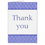 Romantic Damask Thank You Card, Royal Blue Stationery Note Card