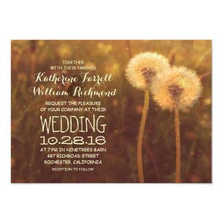 romantic dandelion couple rustic wedding invite