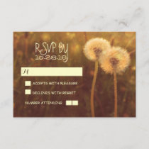 romantic dandelions rustic wedding RSVP cards