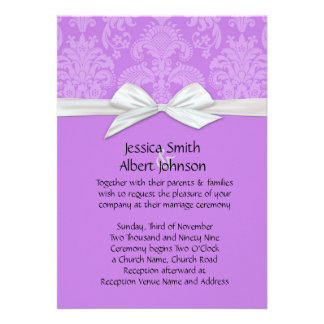 Romantic Dark Lavender Damask Wedding Invite