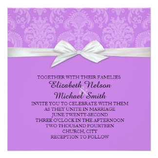 Romantic Dark Lavender Damask Wedding Invite