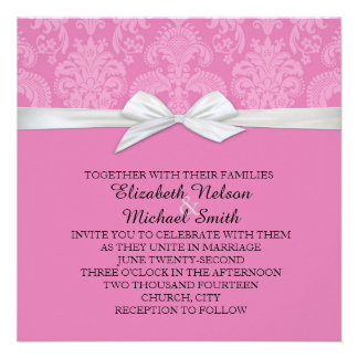 Romantic Dark Mauve Damask Wedding Invite
