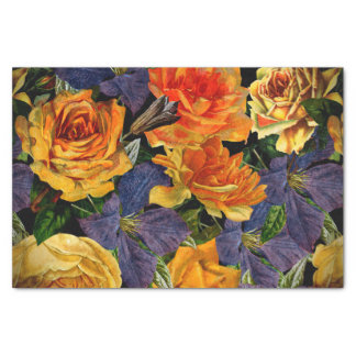 Romantic dark vintage rose flower pattern tissue paper