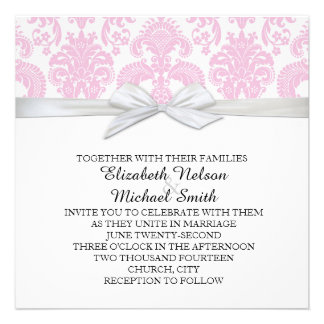Romantic Deep Pink Damask Wedding Invite