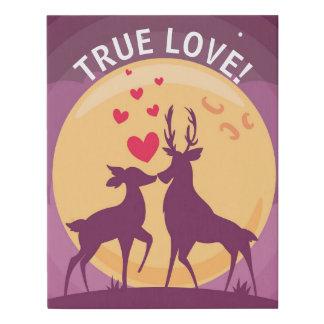 Romantic Deer Love Scene Faux Canvas Print