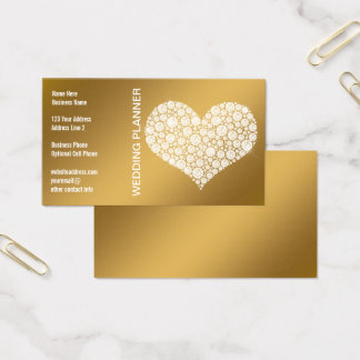 Romantic Diamond Heart Gold Wedding Planner Bridal Business Card