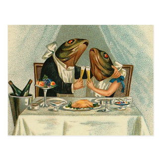 """""""Romantic Dinner for Frogs"""" Postcards"""