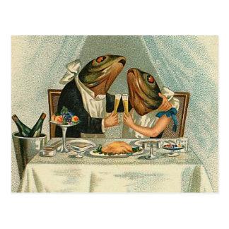 """Romantic Dinner for Frogs"" Postcard"