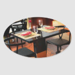 Romantic Dinner for Two Oval Stickers