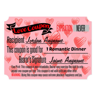 Romantic Dinner Love Coupon Card