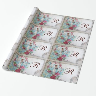 Beach Themed ROMANTIC DOVE,ELEGANT WHITE PINK WEDDING FLORAL WRAPPING PAPER