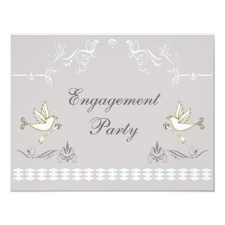 Romantic Doves Engagement Party Card