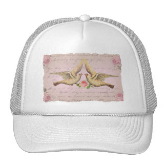 Romantic Doves in Love Vintage Collage Trucker Hat