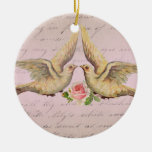 Romantic Doves in Love Vintage Collage Christmas Ornament