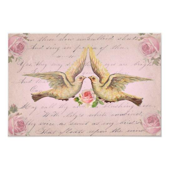 Romantic Doves in Love Vintage Collage Photo Print