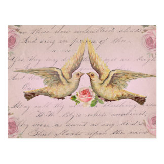 Romantic Doves in Love Vintage Collage Postcard