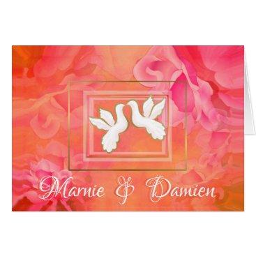 Wedding Themed ROMANTIC DOVES KISS, ORANGE FLORAL WEDDING ROSES CARD