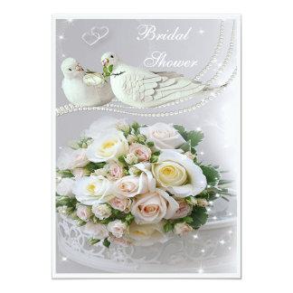 Romantic Doves, Sparkles & Roses Bridal Shower Personalized Invitation