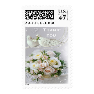 Romantic Doves, Sparkles & Roses Thank You Wedding Postage