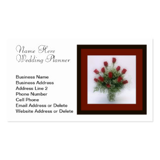 Romantic Dozen Red Roses Bouquet Wedding Planner Double-Sided Standard Business Cards (Pack Of 100)