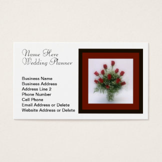 Romantic Dozen Red Roses Bouquet Wedding Planner Business Card