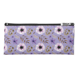 Romantic drawn purple floral botanical pattern pencil case