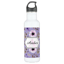 Romantic drawn purple floral botanical pattern water bottle