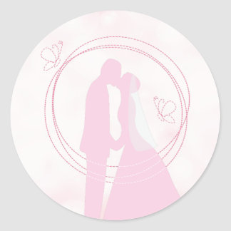 Romantic Dreamy Pink Wedding Couple Classic Round Sticker