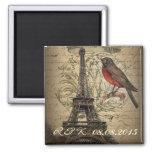 romantic  effiel tower vintage save the date fridge magnets
