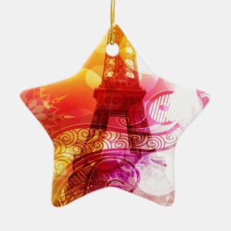 Romantic Eiffel Tower Ceramic Ornament