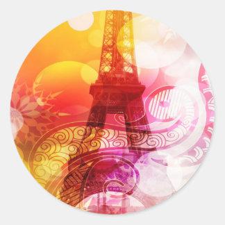 Romantic Eiffel Tower Classic Round Sticker