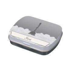 Romantic Eiffel Tower Floating In Cloud Jelly Belly Tin at Zazzle
