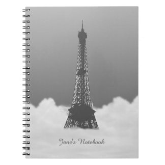 Romantic Eiffel Tower Floating In Cloud Note Books
