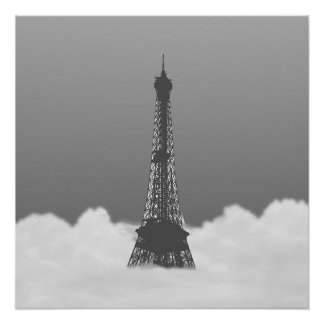 Romantic Eiffel Tower Floating In Cloud Poster