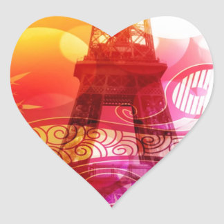 Romantic Eiffel Tower Heart Sticker