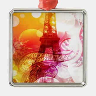 Romantic Eiffel Tower Metal Ornament