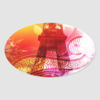 Romantic Eiffel Tower Oval Sticker